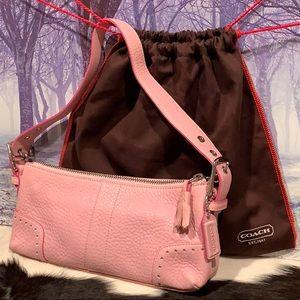 COACH NEW Pebbled Pink Leather Demi Baguette Purse